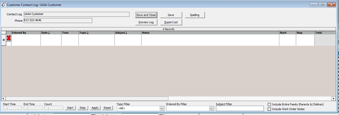 Contact Log Form Options