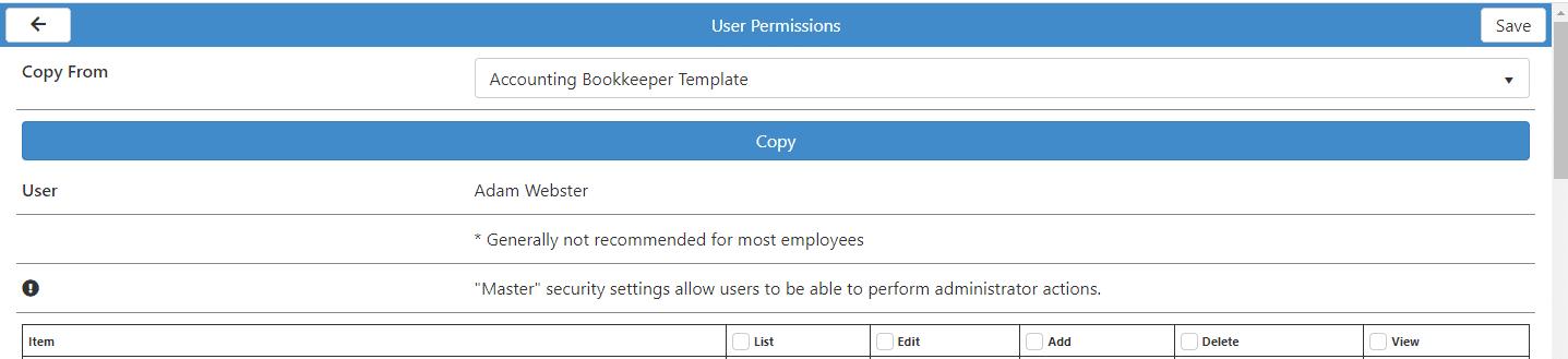 User Permission Options