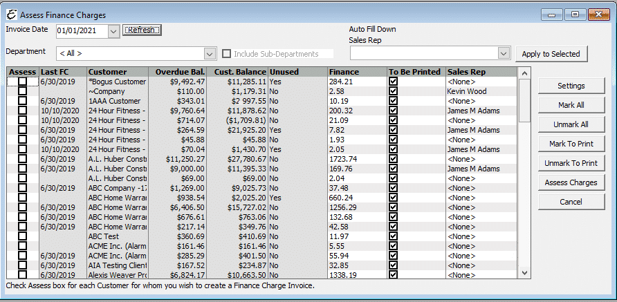 Assess Finance Charge Form