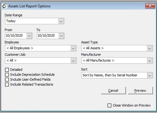 Assets List Report Options