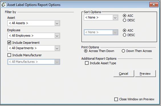 Asset Label Report Options