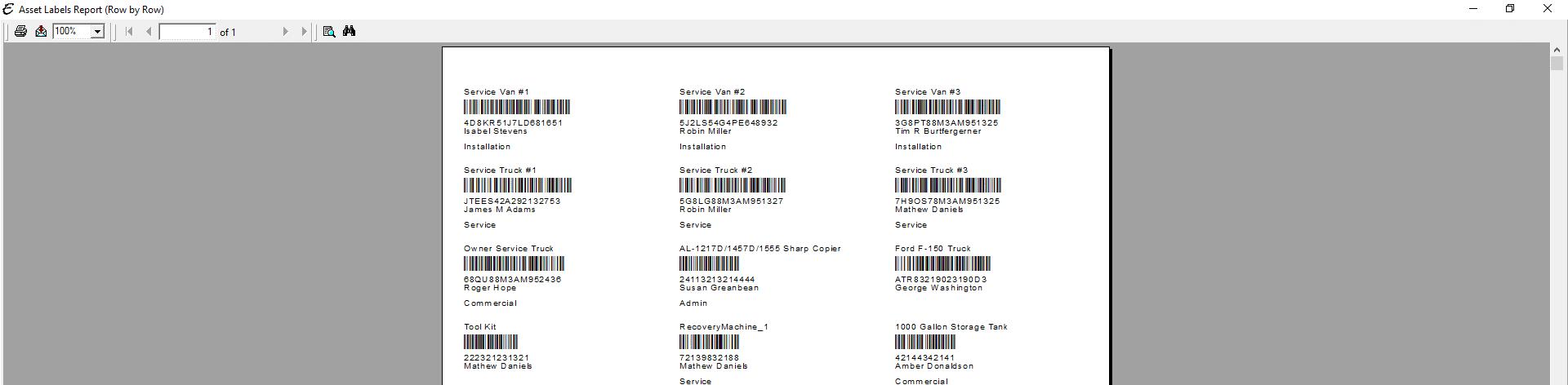 Asset Labels Report PDF