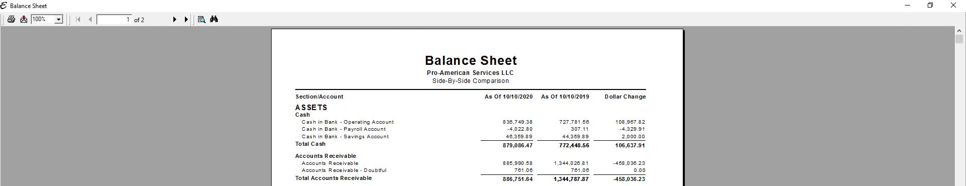 Balance Sheet - Dollar Comparison PDF