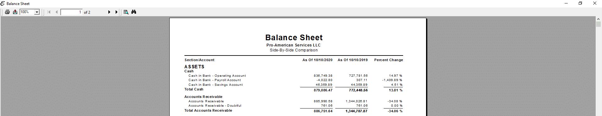 Balance Sheet - Percent Comparison PDF