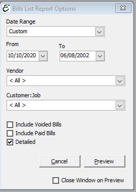 Bill List Report Options