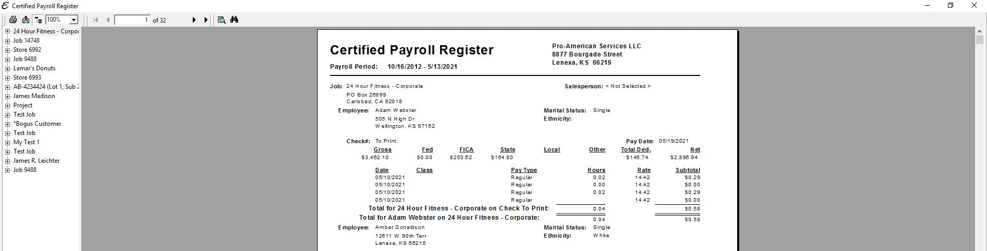 Certified Payroll Register PDF
