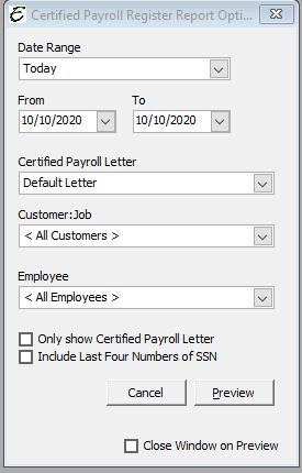 Certified Payroll Register Report Options