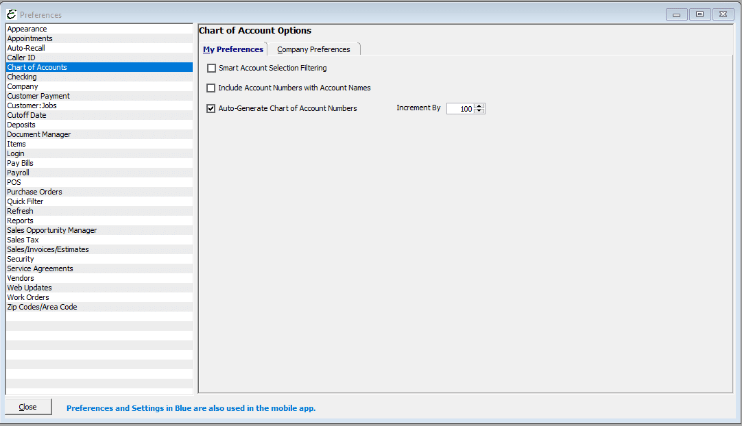 Chart of Account Preferences