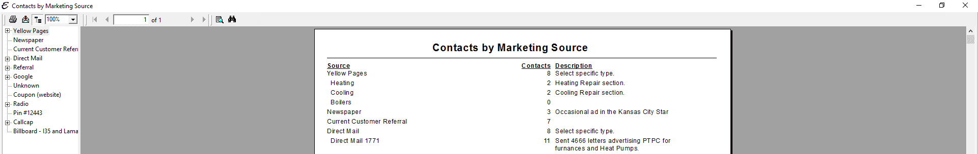 Contacts by Marketing Source PDF