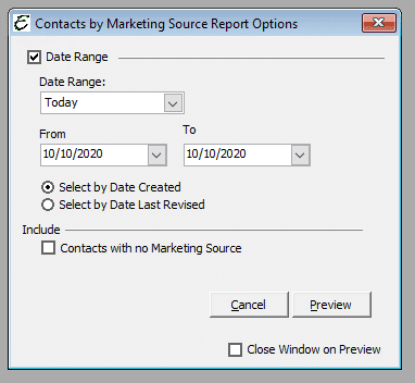 Contacts by Marketing Source Report Options