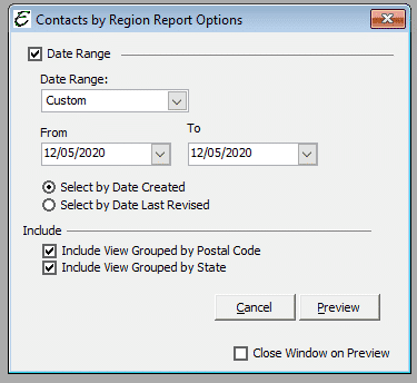 Contacts by Region Report Options