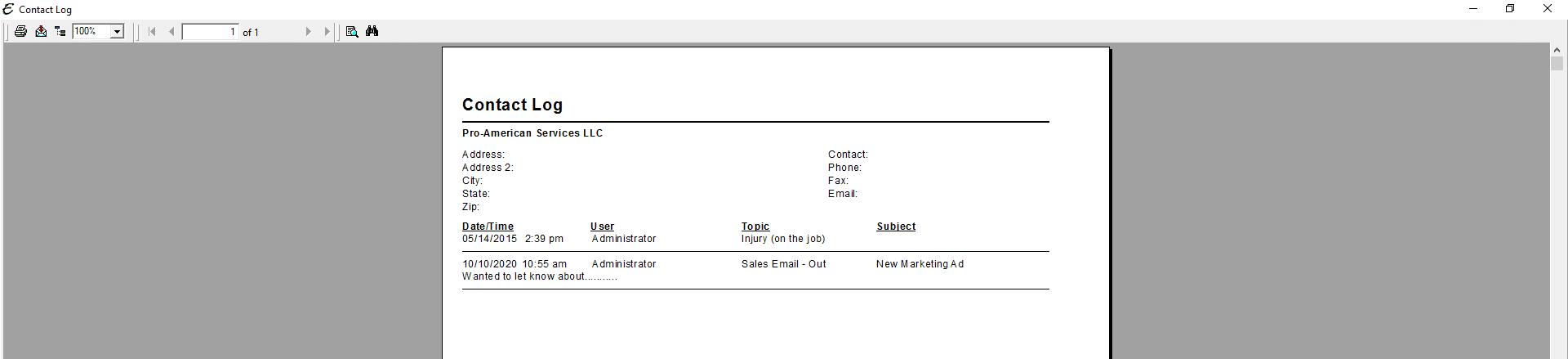 Contact Log (Company) PDF