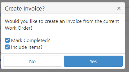 Create Invoice From Work Order