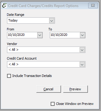 Credit Card Charges Credits Report Options