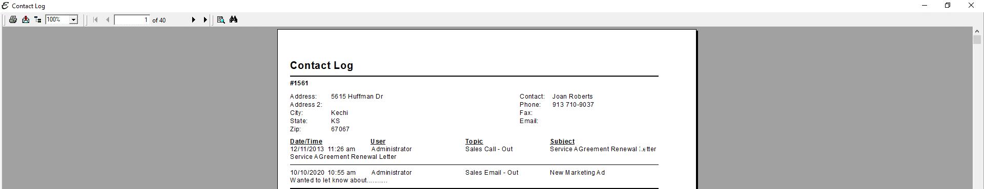 Customer Contact Log PDF