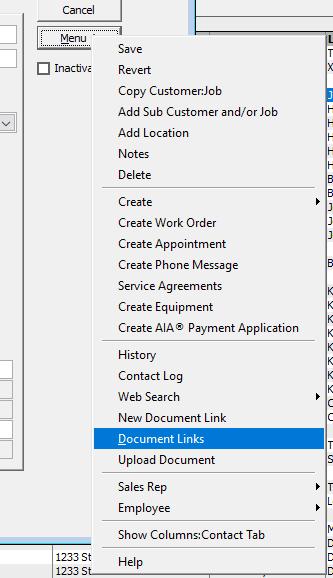 Document Links Menu Option