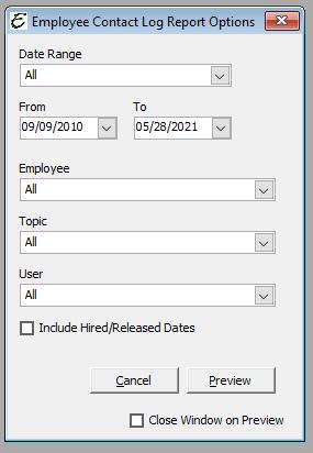 Employee Contact Log Report Options