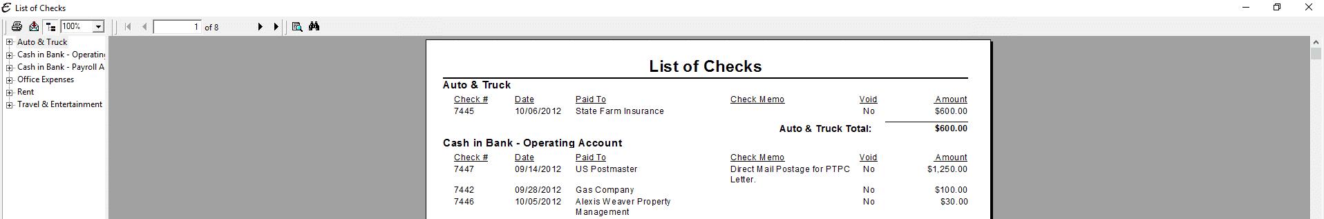 List of Checks PDF