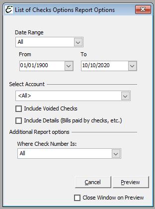 List of Checks Report Options
