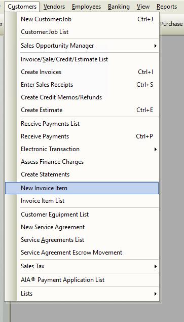 New Invoice Item