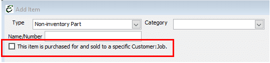 Non-Inventory - Used for Specific Customer