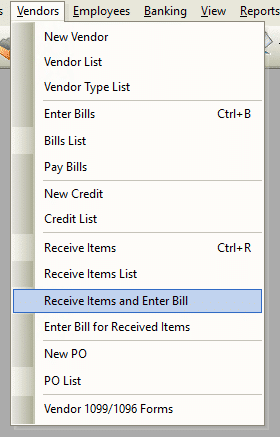 Receive Items and Enter Bill File Path