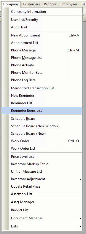 Reminder Items List File Path