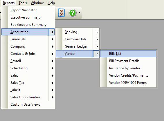 Reports - Bill List File Path