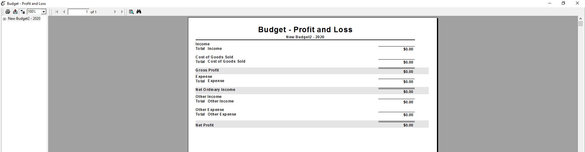 Sample Budget Report