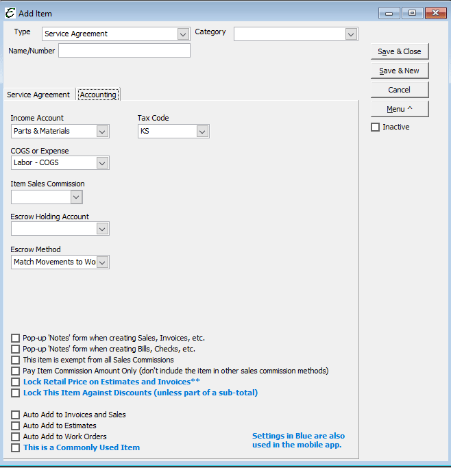 Service Agreement - Accounting Tab