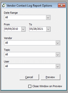 Vendor Contact Log Report Options