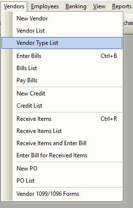 Vendor Type List File Path