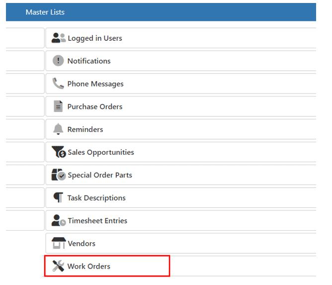 Work Order - Master List