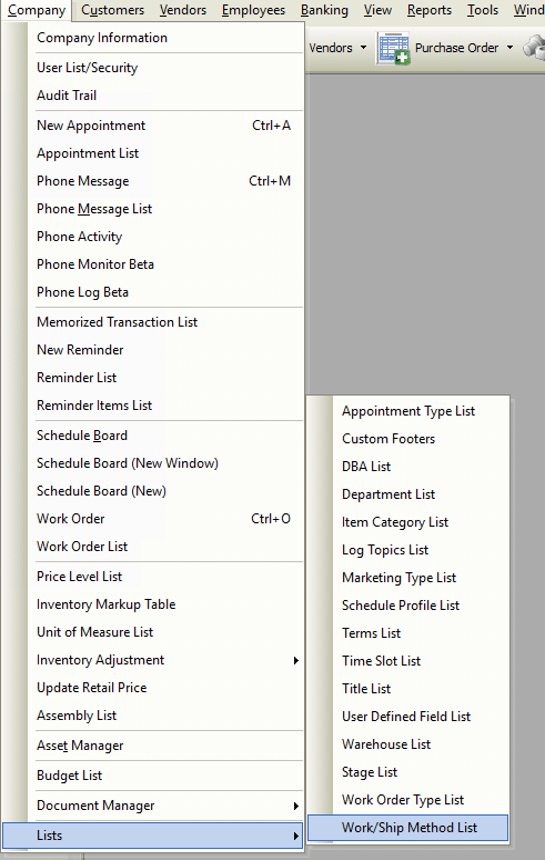 Work/Ship List File Path