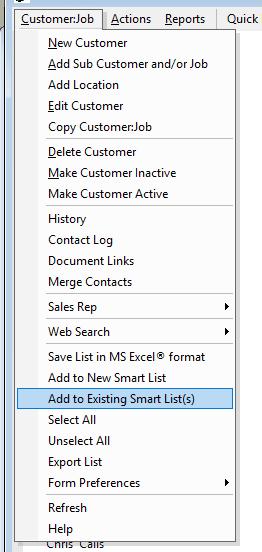 Add to Existing Smart List - Menu