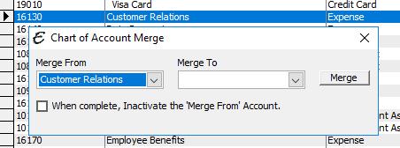 Chart of Account Merge