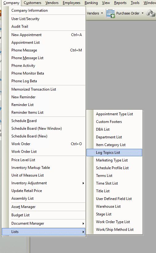 Contact Log Topics List