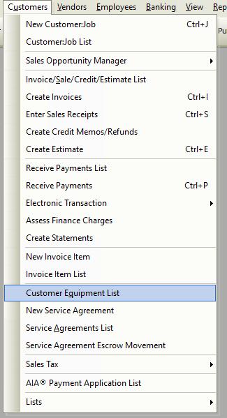 Customer Equipment List File Path