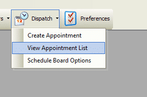 Toolbar - Dispatch - View Appointments