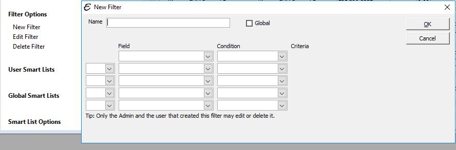 New Filter Screen