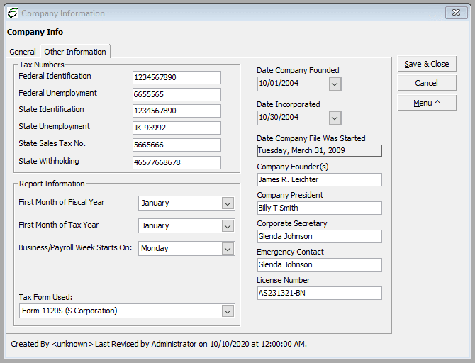 Sample - Company Information - Other Information Tab