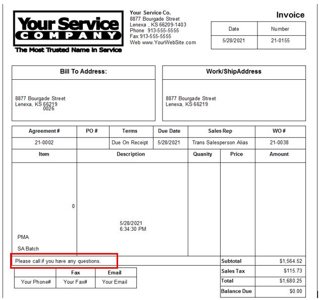 Sample Invoice - Customer Vendor Message