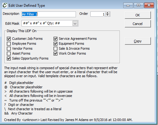 Sample - User Defined Fields