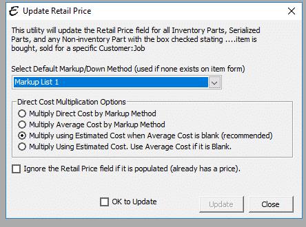 Update Retail Price Form