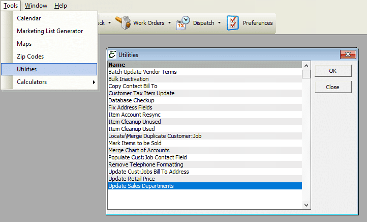 Update Sales Departments Utility File Path