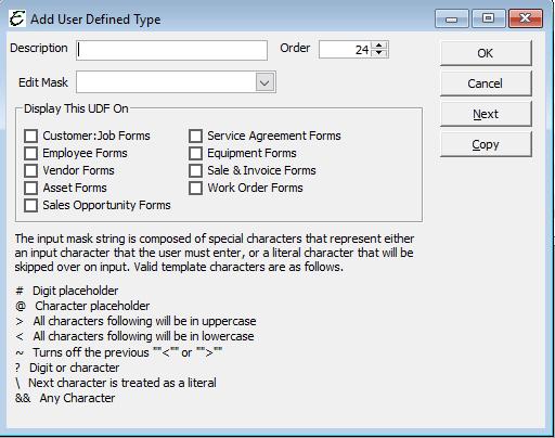 User Defined Fields - Add New