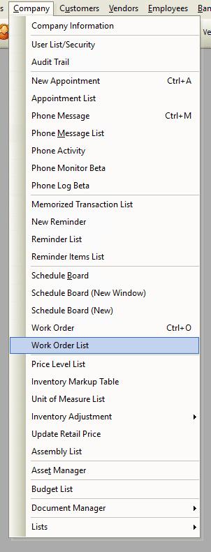 Work Order List File Path