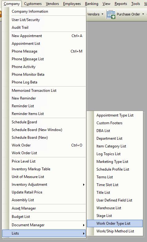 Work Order Type List