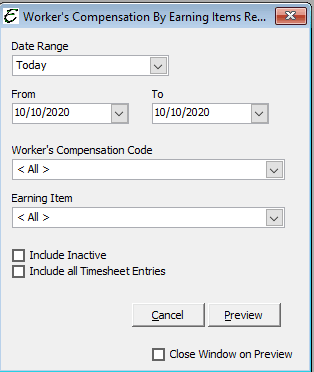 Worker's Compensation by Earning Item Options
