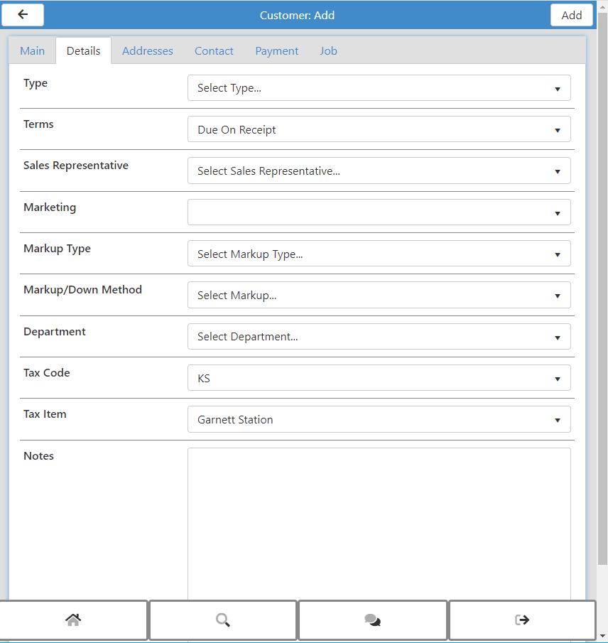 Customer Add New - Details Tab